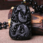 Black Natural A obsidian hand-carved good luck Fish+water pendant Necklace ZK-1