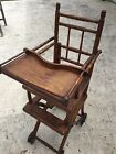 Antique Vintage Victorian Baby Convertible High Chair Stroller Combo Cane 1885