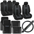 14Pc Seat Cover Floor Mat  Steering Wheel Cover Rome Sport Black Charcoal