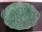 Antique 19th Century EMERALD Green LEAVES Design MAJOLICA Footed Serving Dish