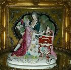 Antique Porcelain Dresden Style Victorian Courting Couple piano Figurine Large!