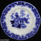 Rare Flow Blue Child Miniature Toy Plate 1840 Chinese Bells Meigh Staffordshire