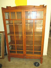 ANTIQUE OAK ARTS CRAFTS MISSION DISPLAY CURIO CHINA CABINET BOOKCASE HUTCH