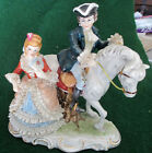 Fine LACE PORCELAIN VICTORIAN COUPLE Man on HORSE DRESDEN Figurine Antique VTG
