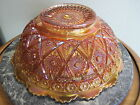 Imperial Glass Diamond Lace Marigold Fruit Vegetable Bowl Carnival Glass  8 1/2