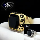 MENs Stainless Steel Gold Silver Black Onyx Greek Key Design Ring Size 8 13R93