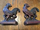Vintage Cast Iron Rooster Book Ends or Door Stops 5-42 Virginia Metal Crafters