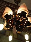 Art Deco 1930s Five Light Brass and Frosted Glass Slip Shade Chandelier 1 of 2
