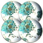 222 Fifth Eliza Teal Round Dessert/Appetizer Plates 6 1/2 Inches Round (Set of