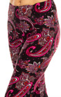 Womens Red  Pink Paisley Swirl Print Casual Sports Leggings Pants One size OS