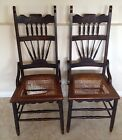Pair Walnut Dining Chairs With Cane Seat
