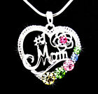 Heart 1 MOM Austrian Crystal Silver Pendant Necklace Love Mother Flower Multi