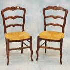 6 Carved Oak Country French Chairs w/Rush Seats Lot 232