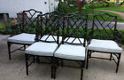 6 VINTAGE CHINESE CHIPPENDALE CHAIRS Faux Bamboo Hollywood Regency Dining
