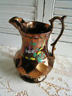 Antique 19th C Wade England Gold Lusterware Pitcher Hand Painted Flowers
