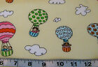 3 yds -baby-kids cotton fabric-hot air balloons/clouds on pastel yellow