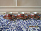Imari Peacock COFFEE Saucers TEA CUPS ARITA Fine China Bird RUST Orange GREEN
