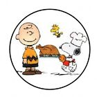 48 SNOOPY CHARLIE BROWN THANKSGIVING ENVELOPE SEALS LABELS STICKERS 12 ROUND
