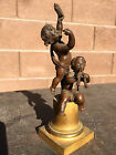 ANTIQUE FRENCH BRONZE STATUE of TWO BOY MUSICIANS  LATE 18TH EARLY 19TH CENTURY