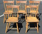 5 Antique Yellow Painted Windsor Chairs Bamboo Thumb Back American New England