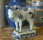 Royal Delft De Porceleyne Fles 4741 Figurine Blue and White Bull Floral Decor