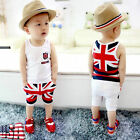 2pcs Toddler UK Flag Outfits Kids Baby Boys Tops+ Fifth Pants Kids Clothes Set