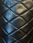 Vinyl Faux leather Upholstery Black Big Diamond 4x6 Quilted fabric Foam Backing