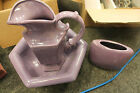Royal Haeger Hexagon Pitcher and Bowl Set with vase purple Haeger pottery