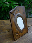 WALNUT WOOD ANTIQUE ART DECO PICTURE FRAME TREEN HORSE RACE SHOE INLAID SWALLOW