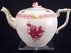 HEREND CHINESE BOUQUET  RASPBERRY TEAPOT,FOR SIX TEACUPS,30 fl OZ HOLD,ROSE LID
