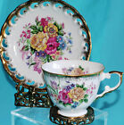 VINTAGE FOOTED TEA CUP AND PIERCED SAUCER FLORAL GOLD ROSES TULIPS  JAPAN