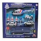 SET CAR TRUCK HELICOPTER POLIS POLICE Diraja Malaysia PDRM 99 DIECAST WHITE 143