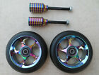 DIS 110mm BlackSlicks Scooter Wheels and Pegs Set 2 wheels + 2 pegs + 2 axles