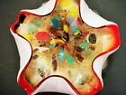 Murano Art Glass Dish Bowl Hot Primary Colors Gold Foil Flakes 8 inches Unmarked