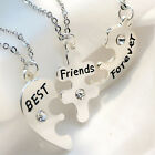 3pcs Set BEST FRIEND Heart Shape Necklace Ladies Silver Friendship Jewelry