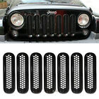 7PCS Black New ABS Chrome Trim Front Grill Insert Covers Kit For Jeep Wrangler