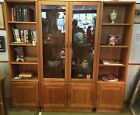 Danish Modern TEAK 3 section lighted wall unit china cabinet bookcase