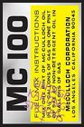 Vintage Go Kart McCulloch Engine ID MC100 Sticker Decal Reproduction