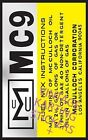 Vintage Go Kart McCulloch Engine ID MC9 Sticker Decal Reproduction
