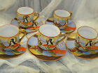 VINTAGE JAPANESE SATSUMA LOT OF 5 COFFEE TEA CUPS AND SAUCERS HAND PAINTED
