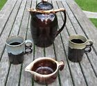 PFALTZGRAFF Brown Drip Coffee Water Pot with Lid, creamer and 2 coffee mugs Lot