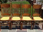 Fabulous Set of 4 Antique Oak Carved Spindleback Chairs With Cane Seats