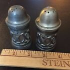 Antique pewter salt and pepper shakers made in Italy
