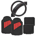 Heavy Duty All Weather Blk/Red Car Floor Mats PU Leather w/ Steering Wheel Cover