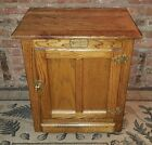 Vintage WHITE CLAD Icebox Nightstand End Table Cabinet NICE Shape Opens Right