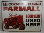 Mc Cormick Deering Farmall Equiptment Used Here Tractor Sign Man Cave Decorative