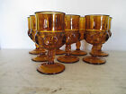 Lot of 8 Kings Crown Thumbprint Amber Glass Water Goblets 575