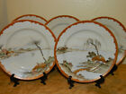 Antique Vtg Japanese Kutani Ocean Village Landscape Plate Set Hand Painted