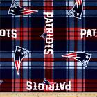 NFL New England Patriots Plaid Fleece Red Blue by the yard