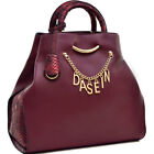 Dasein Womens Handbags Faux Leather Tote Shoulder Bag Satchels Trim Purses